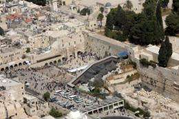The Western Wall (C), part of the Temple Mount in east Jerusalem.