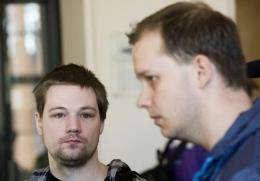 Two co-founders of the file-sharing website, The Pirate Bay, Fredrik Neij (L) and Peter Sunde