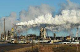 View of an oil sands extraction facility