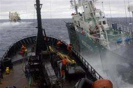 Whalers, activists clash again off Antarctica (AP)