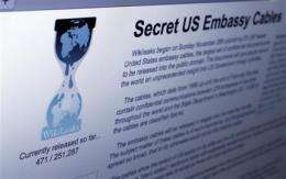 WikiLeaks dropped by domain name provider (AP)