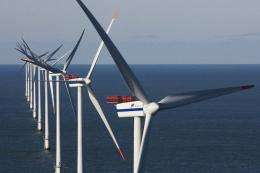 Wind turbines are seen at the Horns Reef wind farm