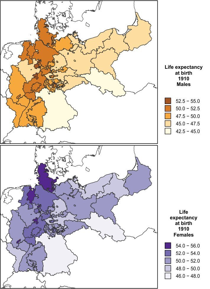 Changes In Regional Life Expectancy Disparities In Germany - Germany map 2015