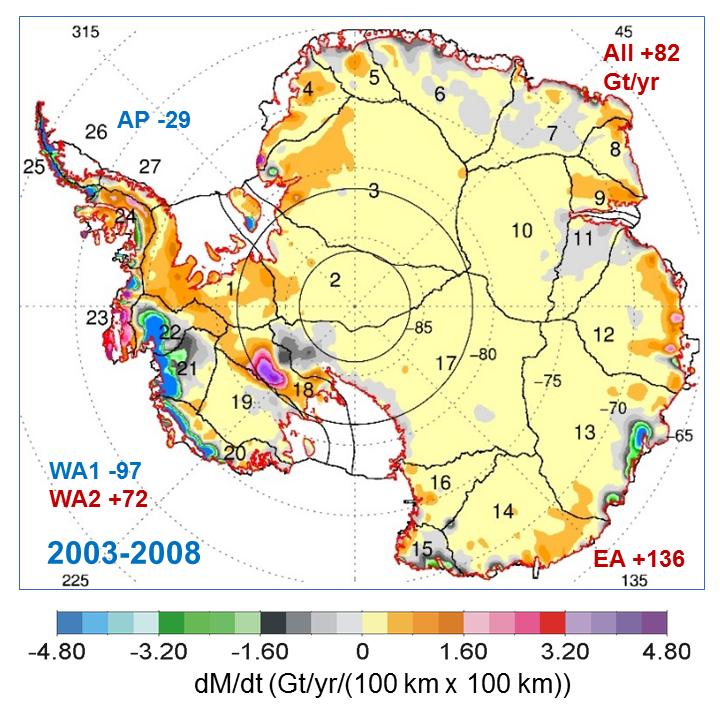 Mass gains of Antarctic Ice Sheet greater than losses, NASA study ...
