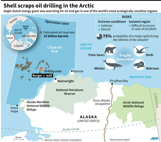 Map Of Alaska And The Arctic Locating Shell S Oil And Gas Drilling Area Including The Burger J Well 135 X 120 Mm
