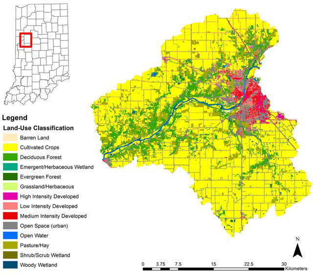 This Graphic Shows Location And Land Use Of The Great Bend Of The Wabash River Watershed From The 2001 U S Geological Survey Land Cover Dataset