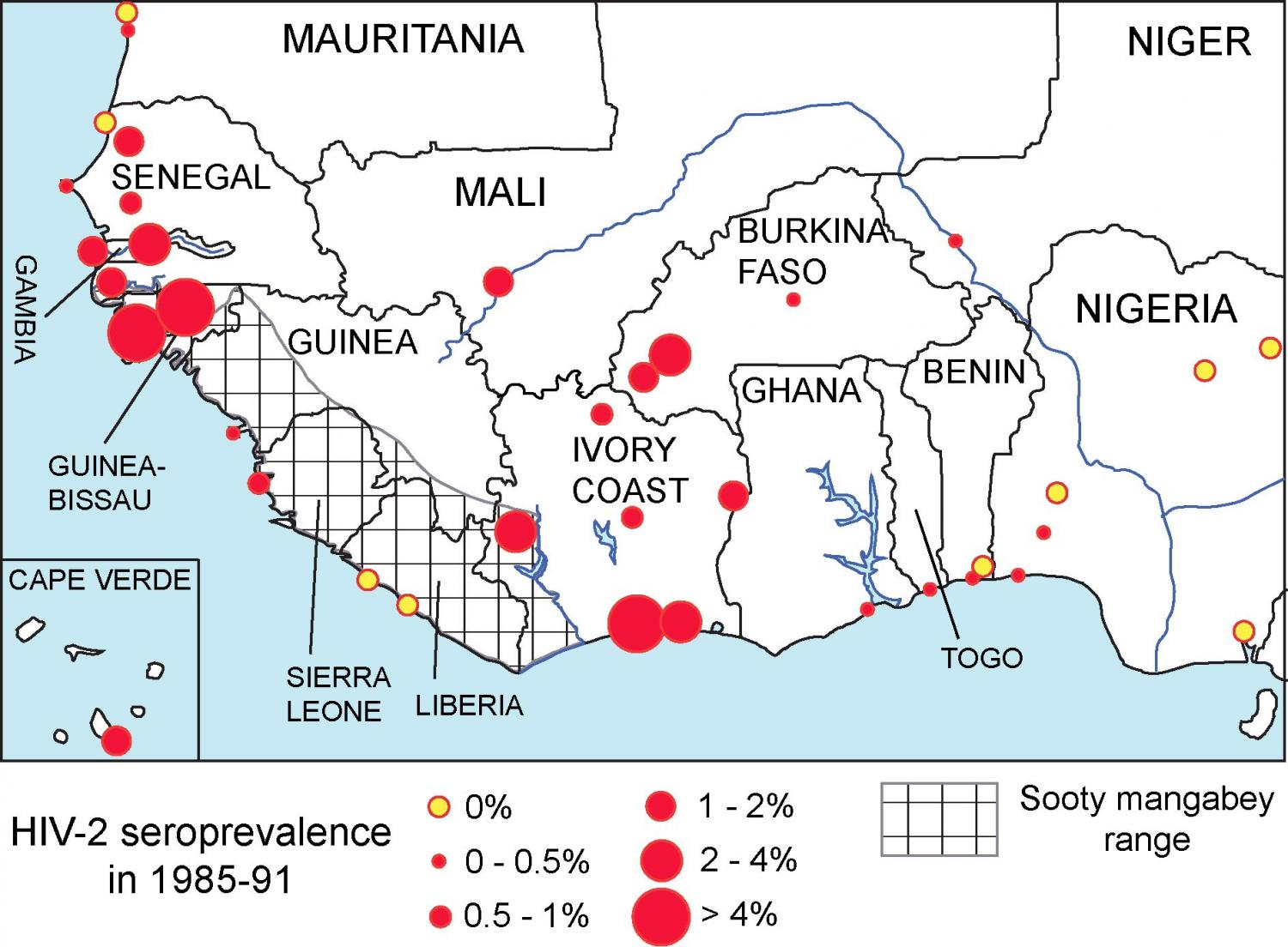 African hiv 2 prevalence associated with lower historical male hiv 2 seroprevalence in adults without specific risk factors in west africa 1985 91 credit sousa et al 2016 ccuart Images