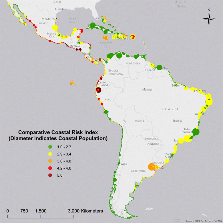 this map shows the geographic distribution of the comparative coastal risk index ccri in latin america and the caribbean credit calil et al 2017