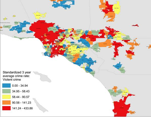 Forecast Lower Violent And Property Crime Rates In Much Of SoCal - 2013 crime rate us map