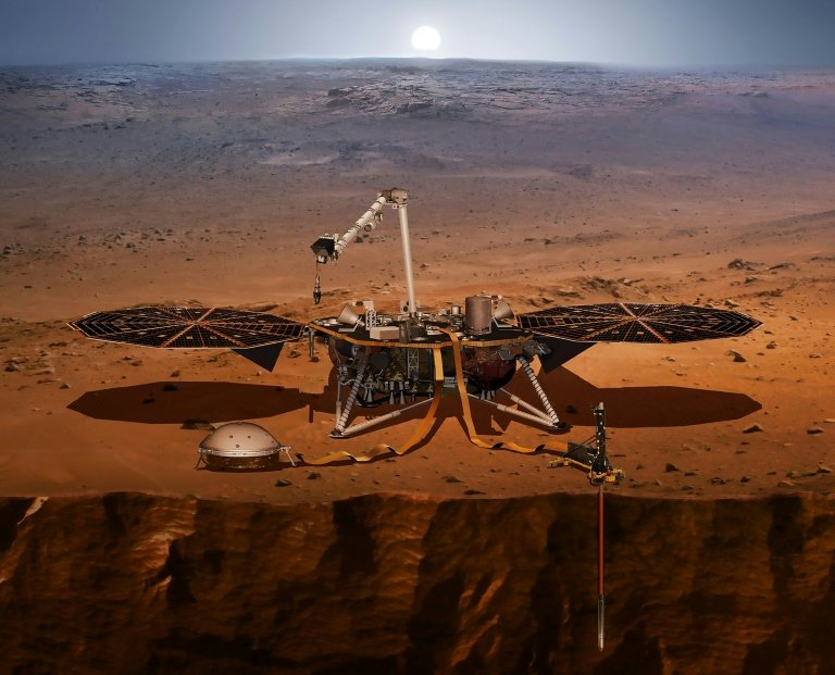 The InSight Lander Seen Here In A NASA Handout Illustration Is Designed To Monitor Quakes On Surface Of Mars