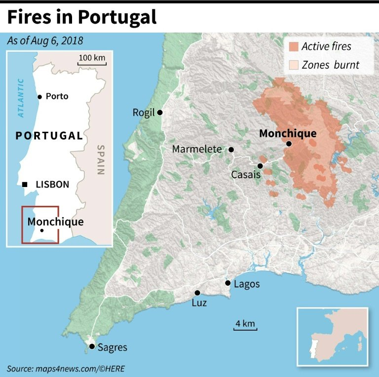 Portugal Steps Up Battle Against Spreading Algarve Wildfire