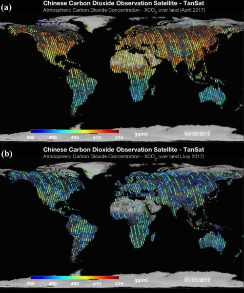 Map Of The World Satellite.First Global Carbon Dioxide Maps Produced By Chinese Observation