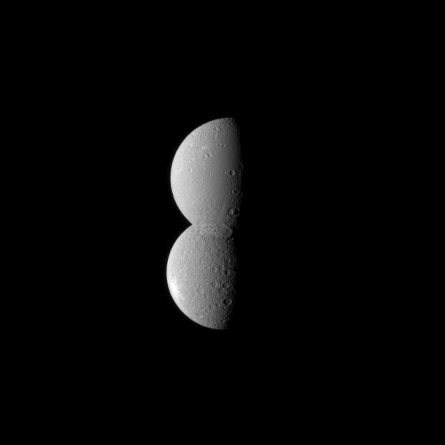 Image: Dione and Rhea appear as one