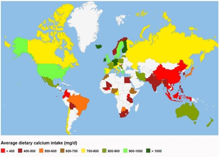 In Many Countries Bone Health May Be At Risk Due To Low Calcium Intake - Interactive global map