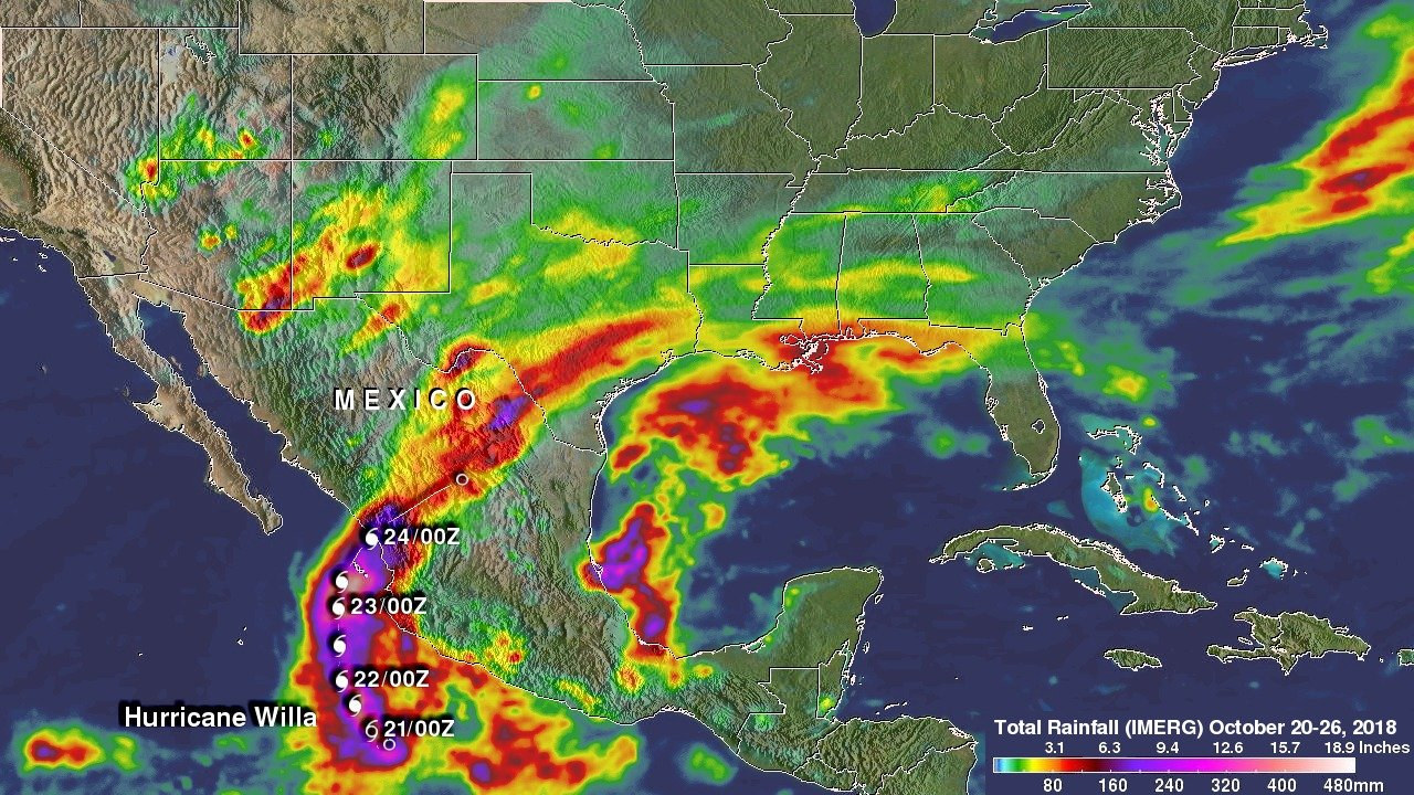 Hurricanes World Map.Nasa S Imerg Reveals Hurricane Willa S Rainfall