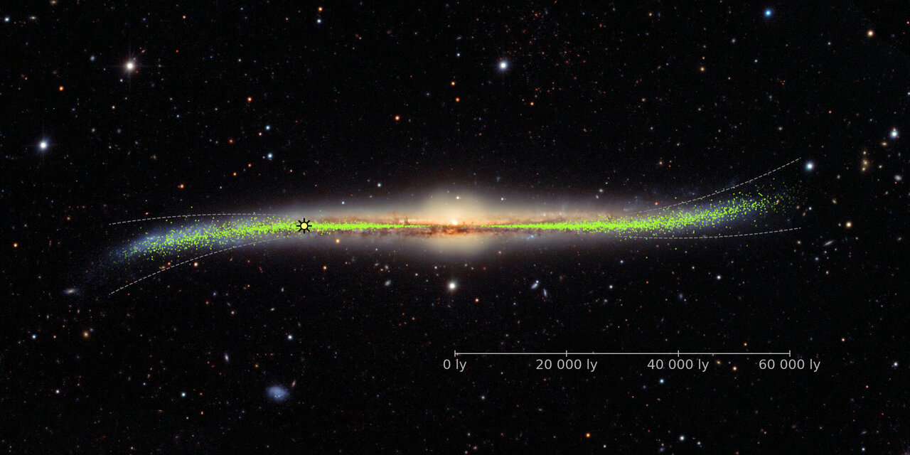 Nová mapa Mléčné dráhy ukazuje její deformovaný tvar, zatím není zřejmé, co jej způsobuje