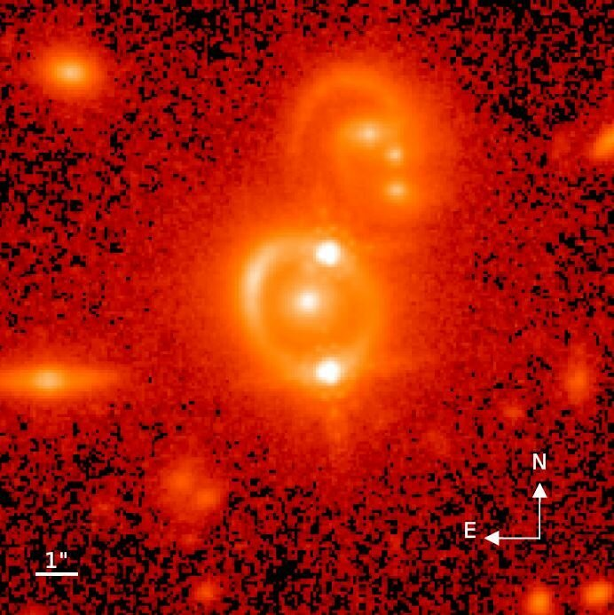 Astronomers use split images of quasars to produce a new estimate of the Hubble constant