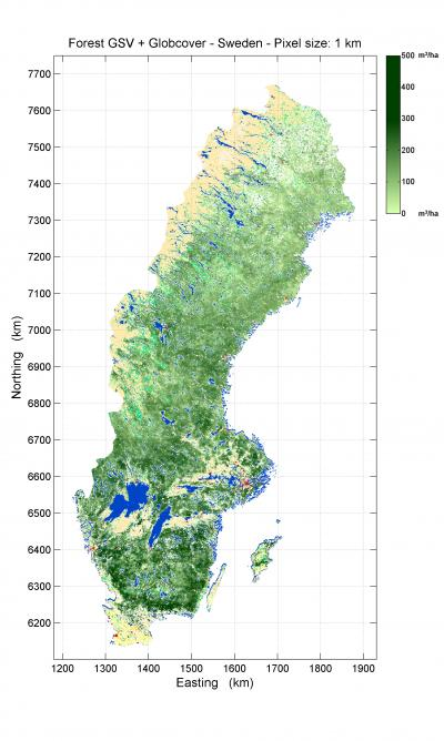 Boreal Forest Biomass Maps Produced From Radar Satellite Data - Sweden map satellite