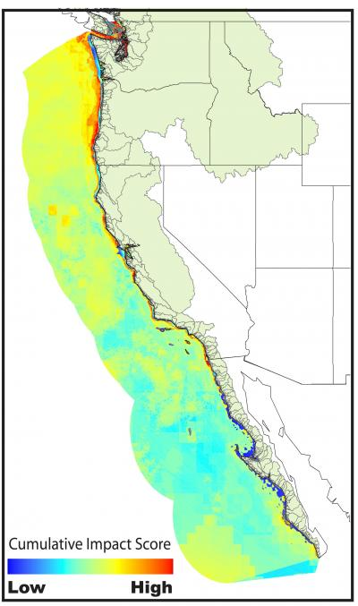 Map Of The Us West Coast.High Human Impact Ocean Areas Along Us West Coast Revealed