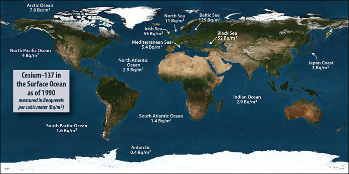 After japan nuclear power plant disaster how much radioactivity radiation level in the oceans in 1990 mostly from nuclear weapons testing measured in becquerels credit woods hole oceanographic institution sciox Image collections