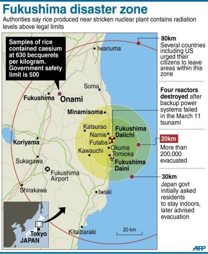 Japan Bans Fukushima Rice For Radiation - No go zones in us map