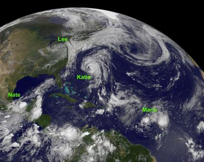 NASA Sees Four Tropical Cyclones In The Atlantic Today - Today satellite image of world