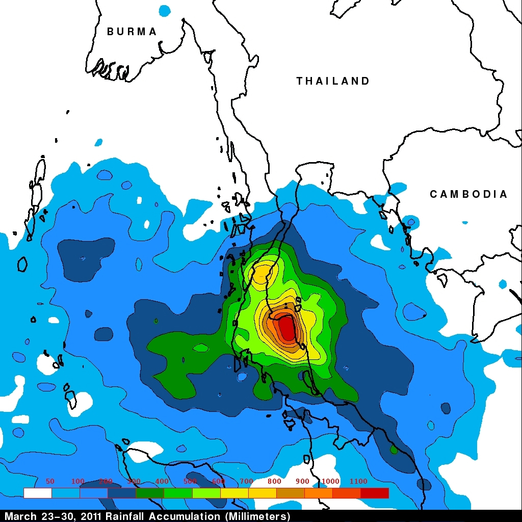 nasa u0026 39 s trmm satellite sees deadly rainfall over thailand