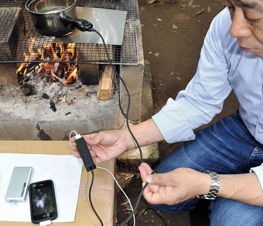 Japan Gadget Charges Cellphone Over Campfire