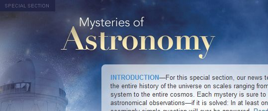 science journal offers up essays on mysteries in astronomy