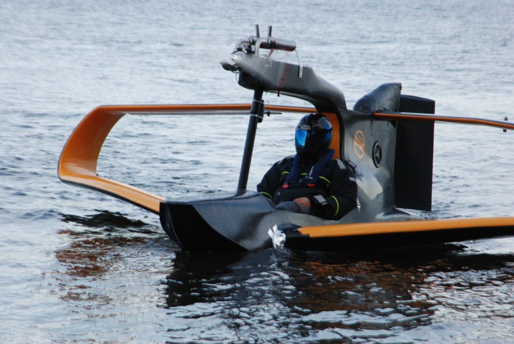 Flynano electric sea plane takes first test flight for Small motor boat cost