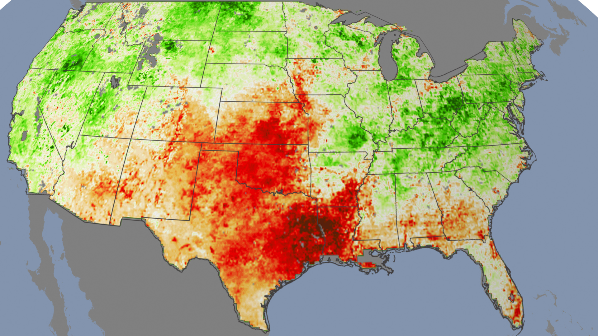 Stress Paints Early Picture Of Drought - Nasa us drought maps
