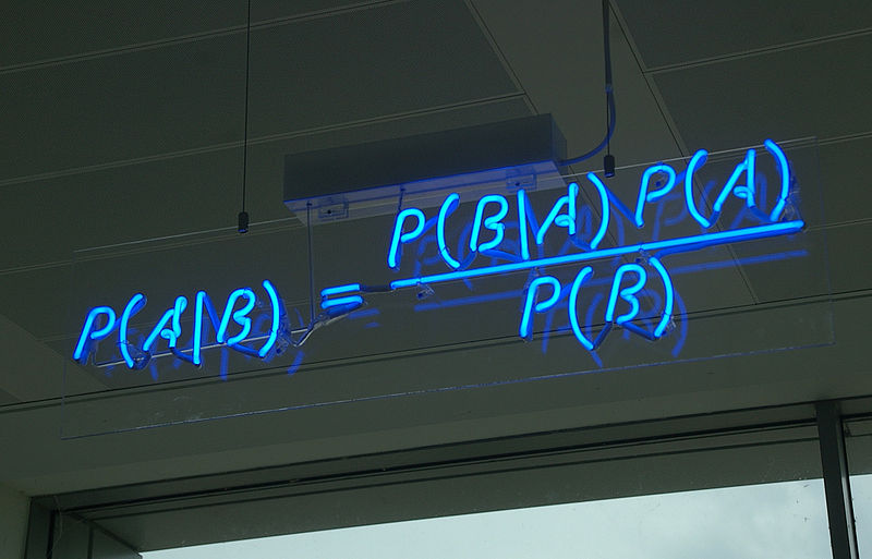 Bayes Theorem Spelt Out In Blue Neon At The Offices Of Autonomy Cambridge Credit Wikipedia CC