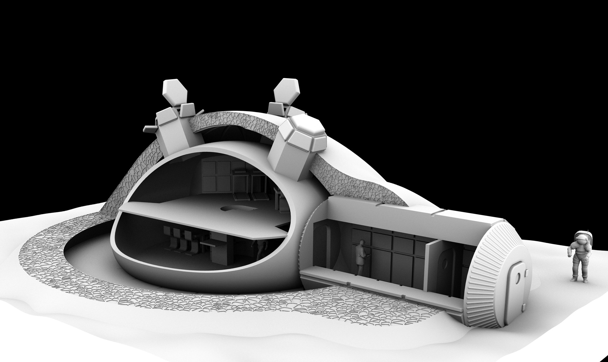 Building a lunar base with 3d printing for Space design 3d