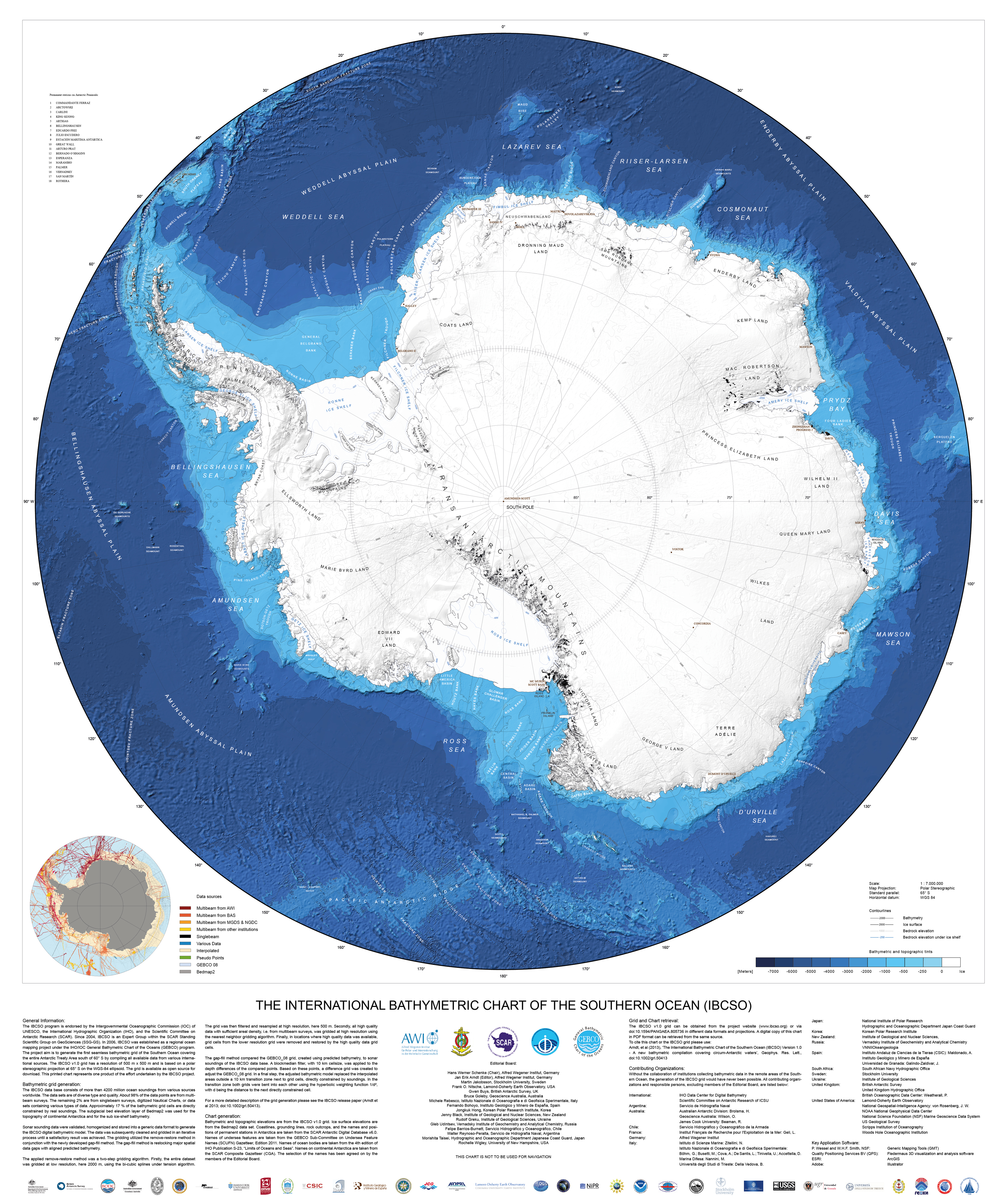 chart shows the entire topography of the Antarctic seafloor in