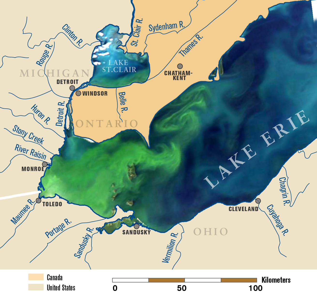 recordbreaking  lake erie algae bloom may be sign of things to come. the new normal recordbreaking  lake erie algae bloom may be