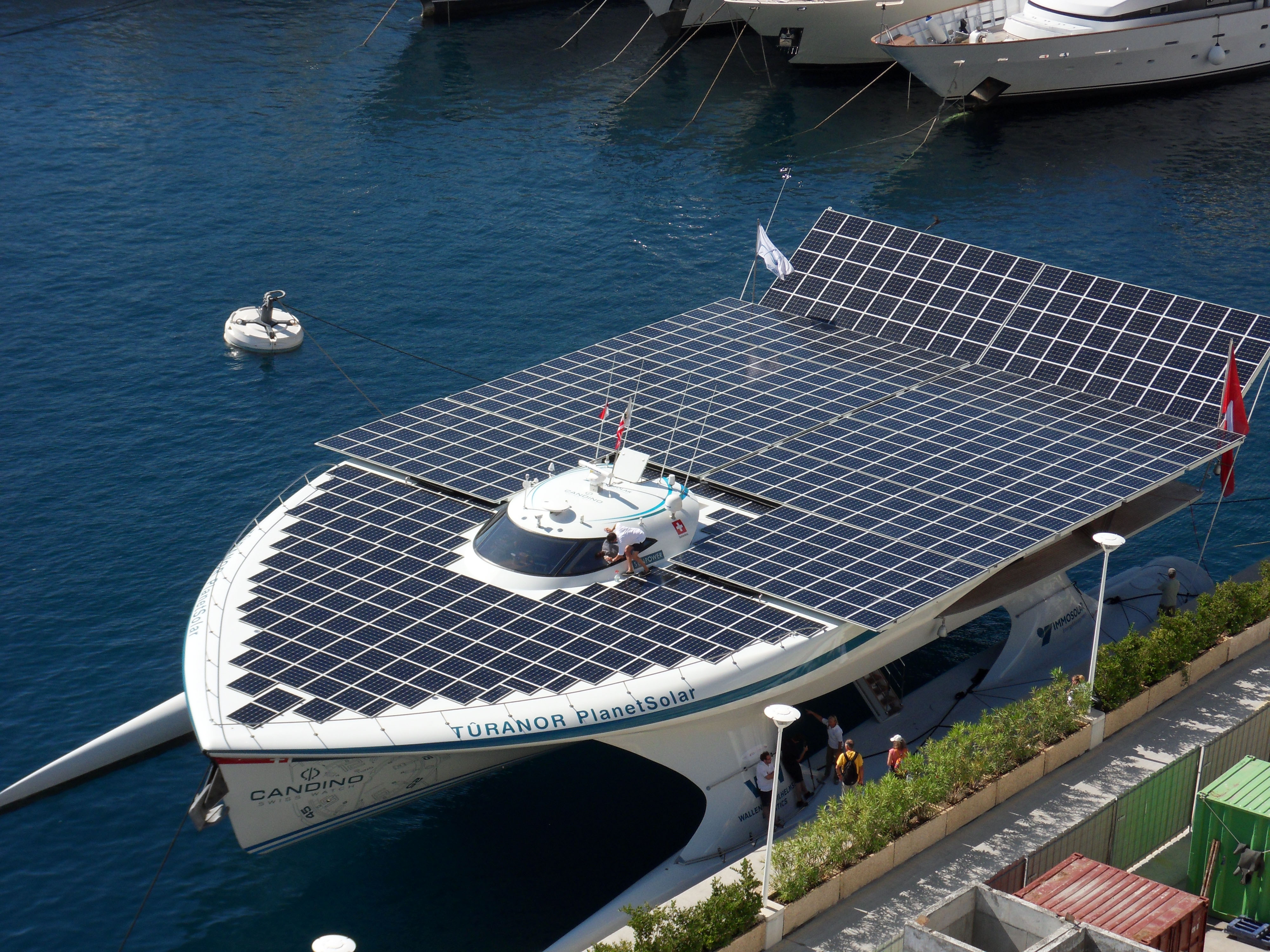 world s largest all solar powered boat shines in nyc