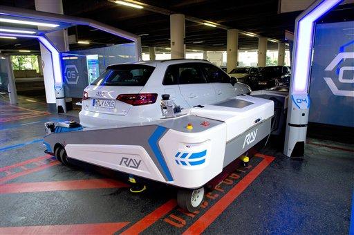 robot valet to park cars at german airport. Black Bedroom Furniture Sets. Home Design Ideas