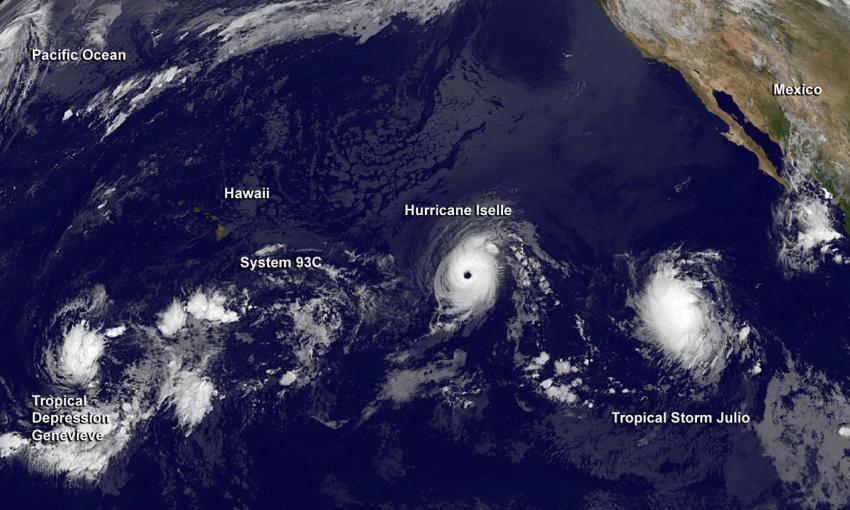 View Of A Hyperactive Eastern And Central Pacific Ocean - Satellite view