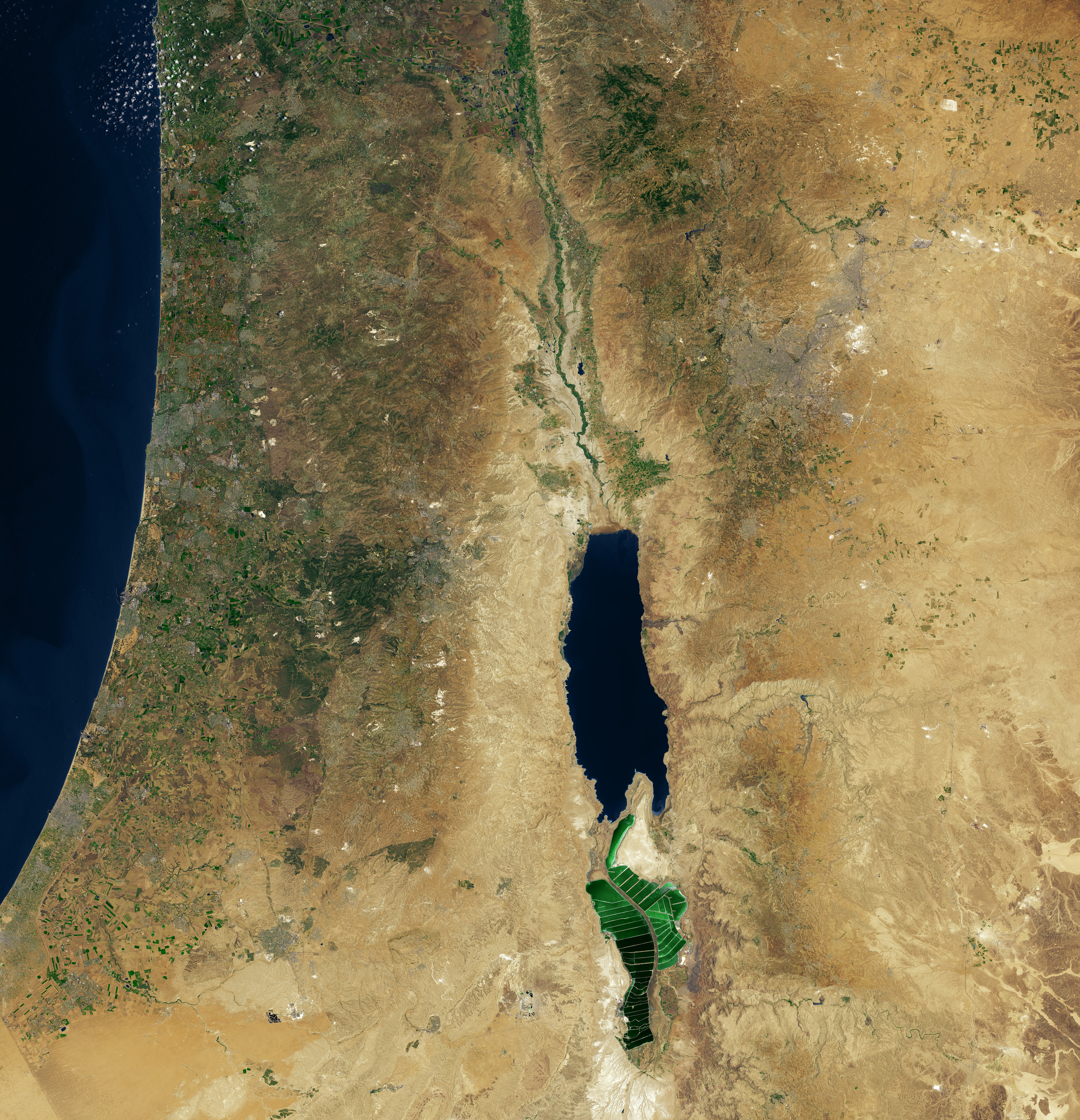 Middle East Map Dead Sea.Esa Image Dead Sea Middle East