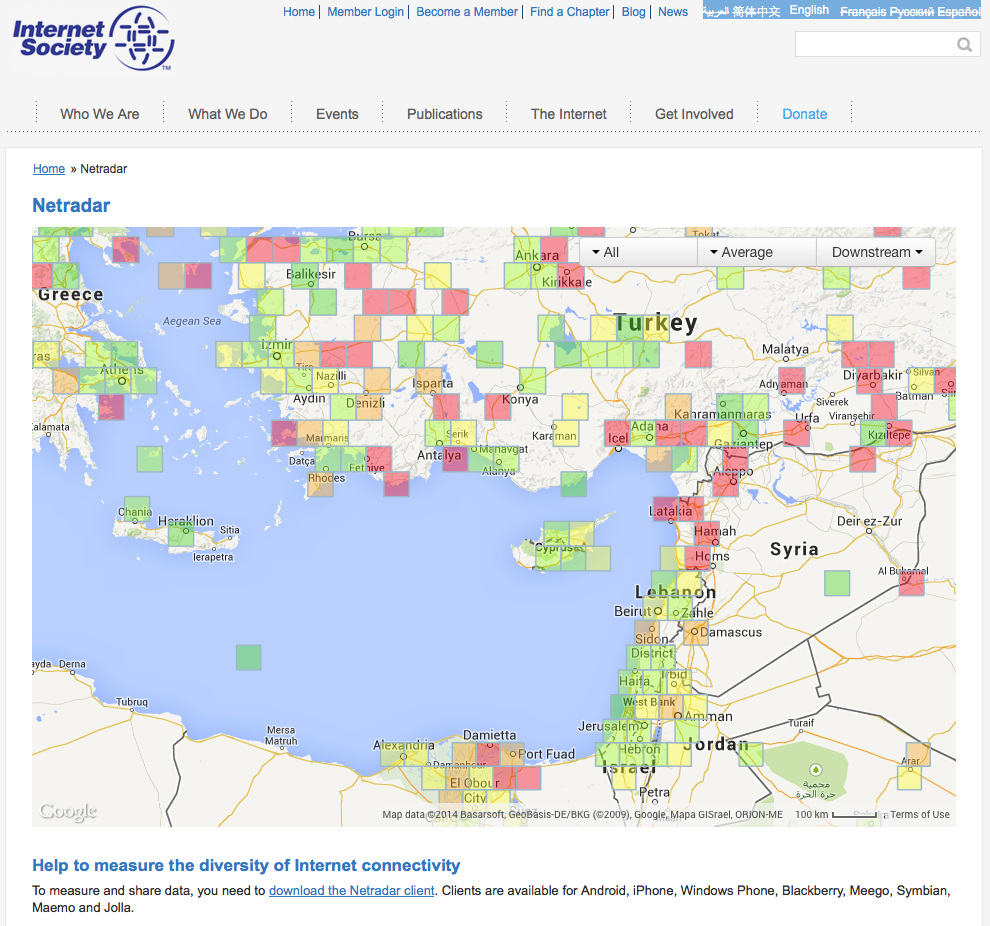 Internet society to measure and display quality of internet a netradar app user can check mobile operator coverage maps at internetsocietynetradar gumiabroncs Images