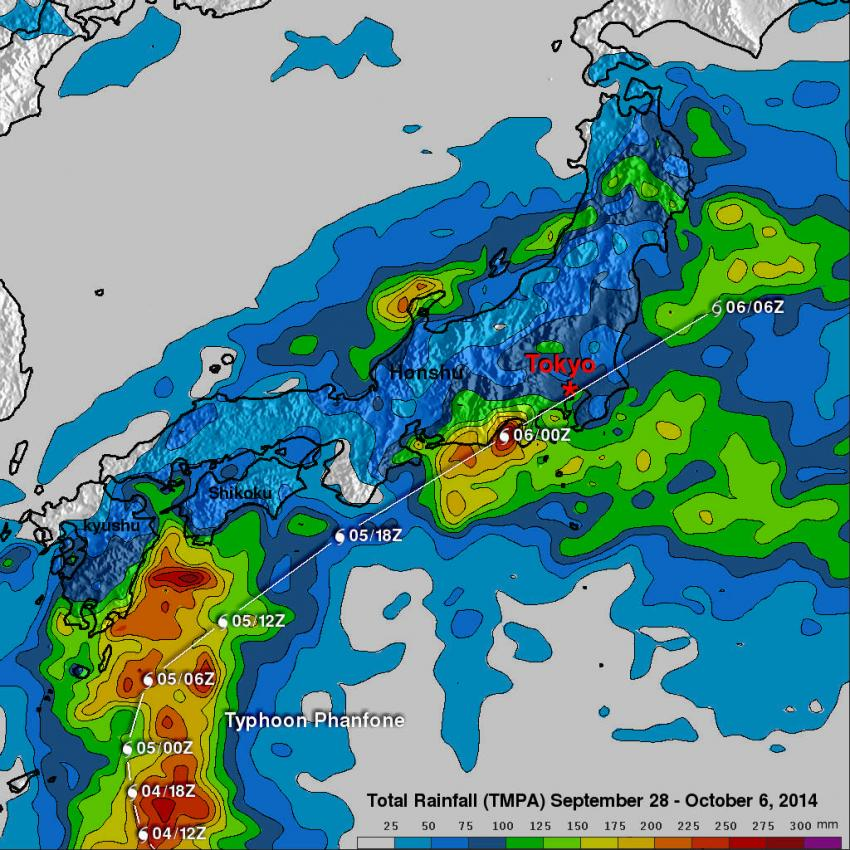 Adds Up Japans Soaking Rains From Typhoon Phanfone - Japan map 2014