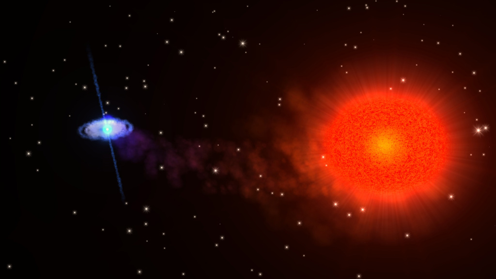Slowly rotating neutron star paired with a red-giant star ...