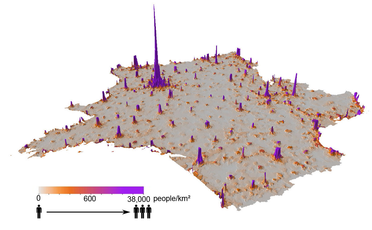 use cellphone data to construct population density maps