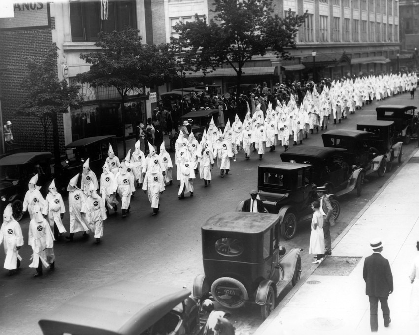 map shows sp of kkk across united states like a contagion  wearing white robes and hoods members of the ku klux klan parade on grace street in richmond circa 1925 credit the valentine