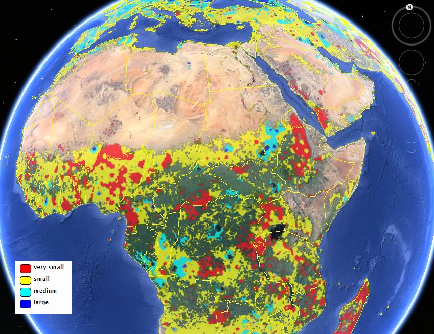 Finding farmland new maps offer a clearer view of global agriculture view of africa from the iiasa field size map credit iiasa geo wiki project google gumiabroncs Image collections