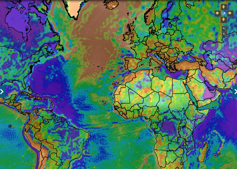 Goce gravity satellite produces maps for geothermal energy development this screenshot from the online interactive maps shows free air gravity anomaly which gives information on geological structures from goce gravity data gumiabroncs Images