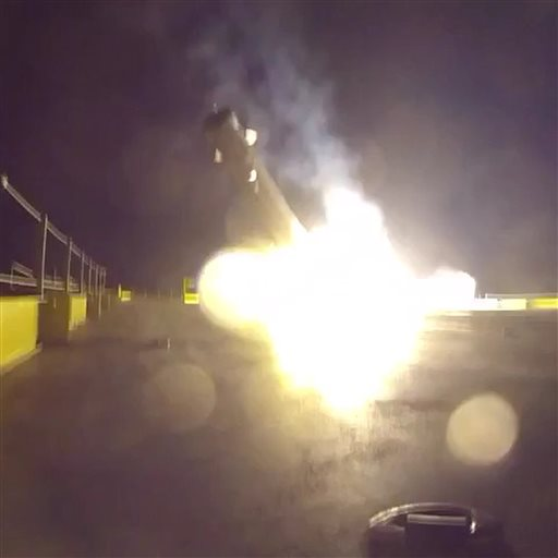 spacex releases video of rocket crash landing on ocean barge