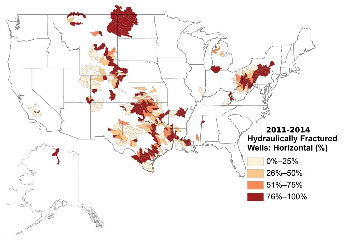 Water Used For Hydraulic Fracturing Varies Widely Across United States Oil Well Drilling Diagram Of An Drill Percent Hydraulically Fractured Wells That Were Horizontally Drilled From January 2011 Through August 2014 In Watersheds The N47646