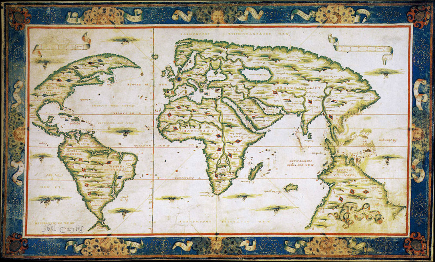 Centuries of map making from william smiths survey to satellites nicolas desliens 1566 map of the world originally depicted with south at the top credit nicolas desliens gumiabroncs Choice Image