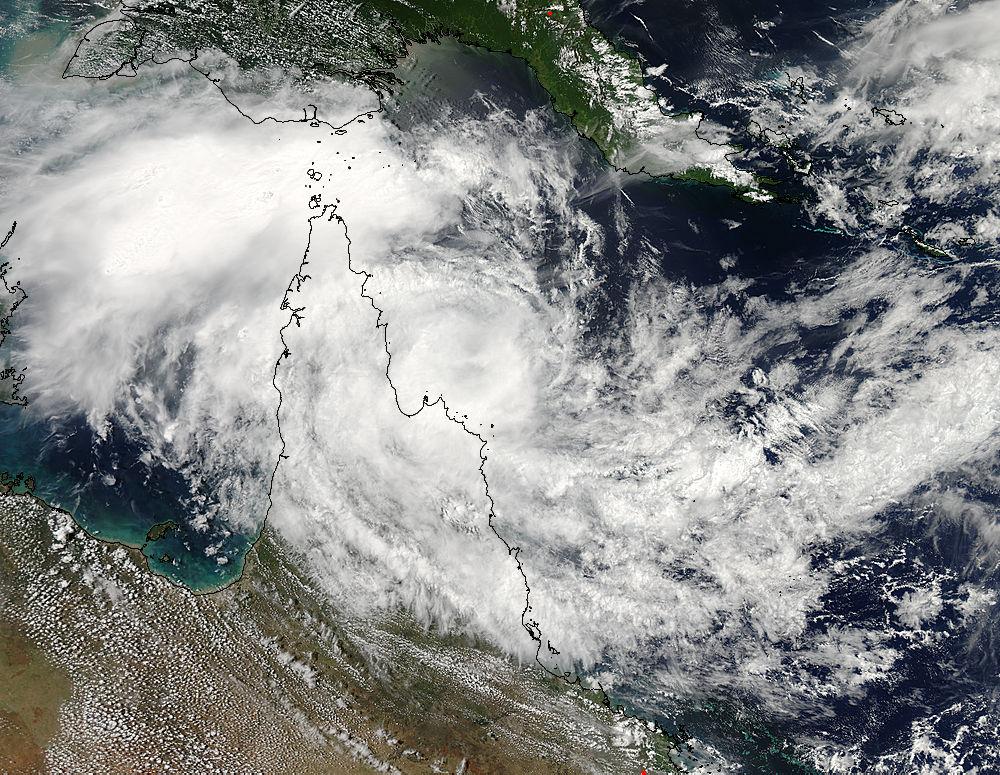 Tropical Cyclone Nathan crawling in NASA satellite imagery